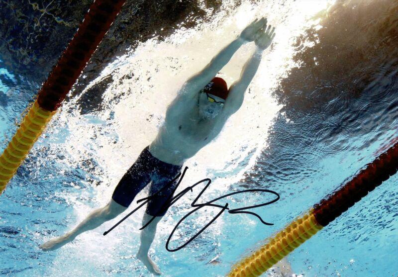 Adam Peaty Signed 12X8 Photo Rio 2016 Tokyo 2020 Genuine Signature AFTAL COA (H)