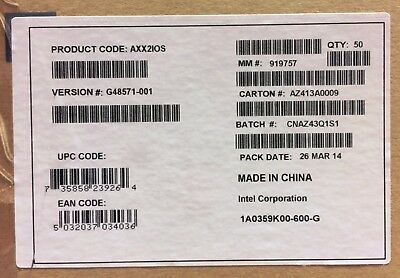 Intel AXX2IOS I/O Shield Spare. New Bulk Packaging