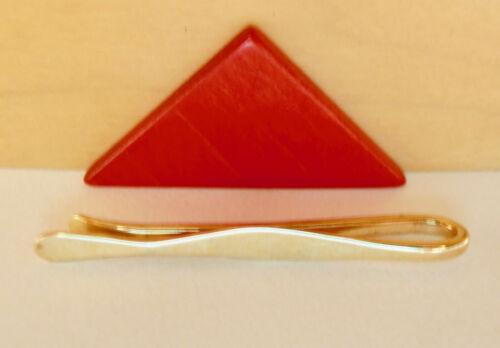 """Ed Levin Jewelry Signed 14k Gold Elegant Long Vintage Design Tie Clip @ 2 1/8"""""""