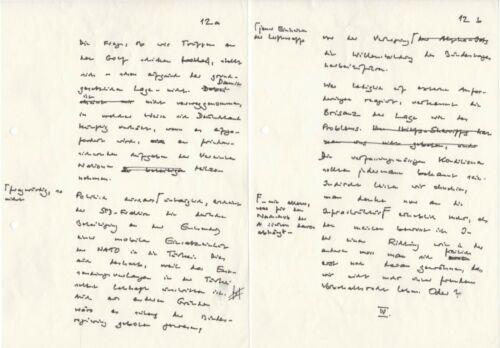 Brandt, Willy (1913-1992) - Handwritten manuscript pages from a Vienna speech