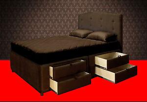 king platform bed frame with storage drawers upholstered bed and headboard sale. Black Bedroom Furniture Sets. Home Design Ideas