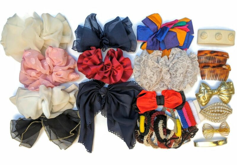 Vintage 80s 90s Hair Ties Bow Clips Barrettes VSCO Girl JoJo Siwa