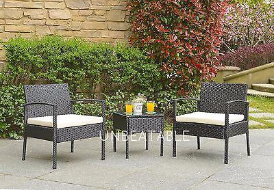 Rattan 2 Seater Wicker Patio Outdoor Garden Furniture Bistro Glass Table Chair