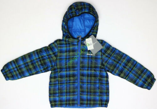 New Eddie Bauer Boys Plaid Quilted Hooded Puffer Jacket NWT Blue Size XL 16-18