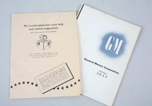 Vintage 1947 GM General Motors Annual Report with Original Questionnaire