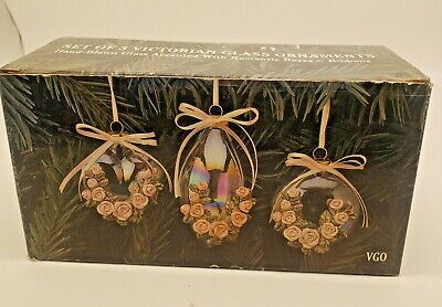 Set of 3 Vintage Victorian Hand Blown Glass Ornaments Ceramic Roses