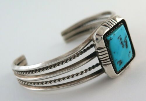 Quality Sterling Silver & Kingman Turquoise Shadowbox Cuff Bracelet