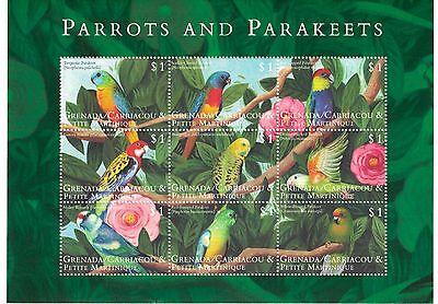 GRENADA GRENADINES - PARROTS & PARAKEETS BIRDS, 2000 - SC 2148 SHEETLET OF 9 MNH