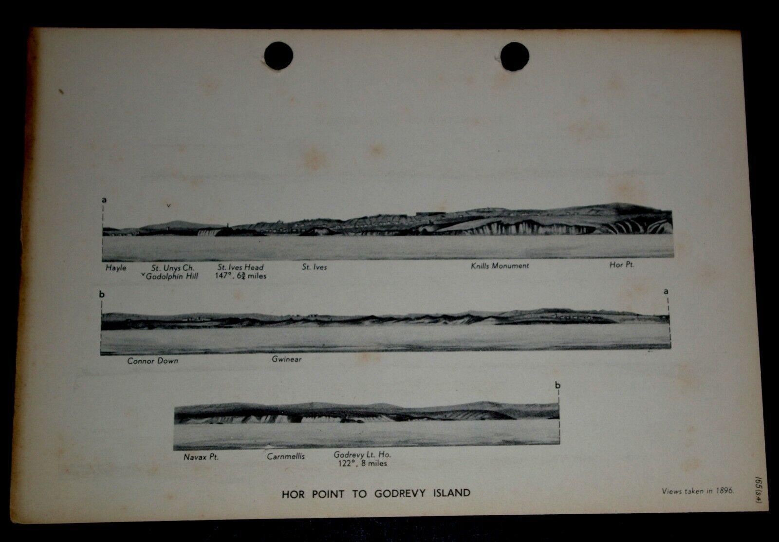 COASTAL VIEWS HOR PT to GODREVY ISLAND PENDEEN PT CORNWALL 1896 Navy 1943