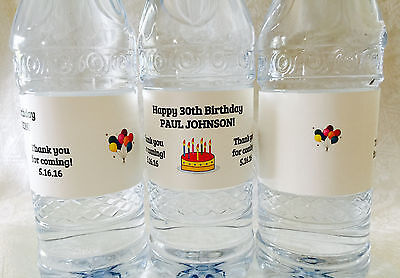 20 PERSONALIZED BIRTHDAY Themed Waterproof WATER BOTTLE LABELS for Party Favors (Personalized Labels For Water Bottles)