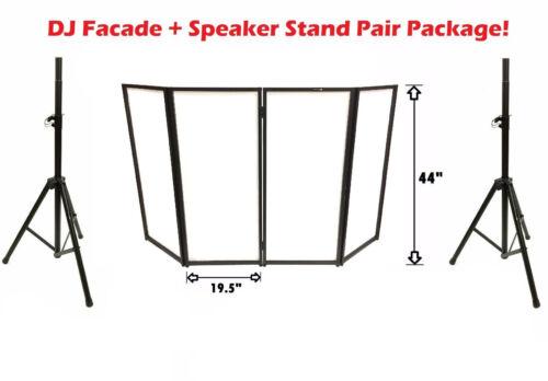 DJ Event Facade White Scrim Metal Frame Booth+Travel Bag Case+Two Speaker Stands