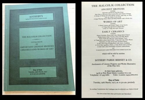 SOTHEBYS LN THE MALCOLM COLLECTION IMPORTANT CHINESE BRONZES CERAMICS 3/29/77-4