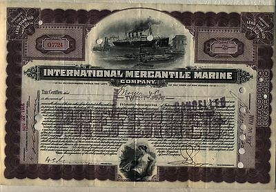International Mercantile Marine Company Stock Certificate Purple