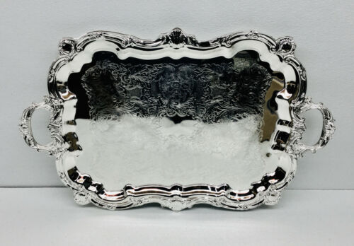 """Leeber 89731 Elegant Baroque Tray Footed with Handles 18"""" x 30"""", Silver Plated"""