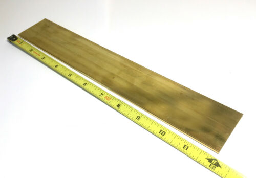 "1/8"" x 2"" C360 BRASS FLAT BAR 12"" long Solid .125"" Plate Mill Stock H02"