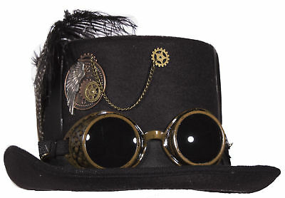 Hat With Goggles (Deluxe Black Steampunk Top Hat with Crossed Straps and Removable)