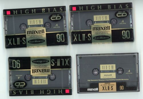 Maxell XLII S Hight Bias 90 Minute Cassettes Lot of 4 New, 3 Are Sealed.