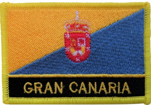 Gran Canaria Flag Canary Islands Spain Embroidered Patch - Sew or Iron on