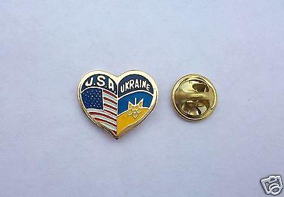 Ukrainian & American Flags Heart Pin Badge USA & Ukraine Friendship Metal