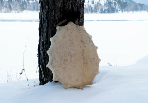 Shaman drum tambourine Siberian authentic egg shaped 50 cm in diameter