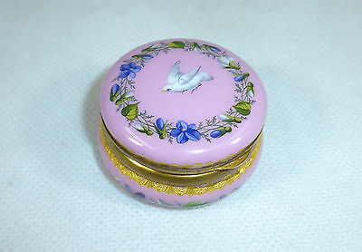 Beautiful Enamel Tin Pill Box Russia/France Pigeon