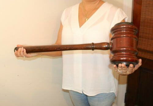 LARGE antique oversized handmade carved wood judges gavel sculpture statue