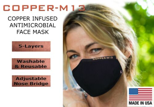 5 Layer Copper Infused Anti-Microbial Face Mask - BLACK