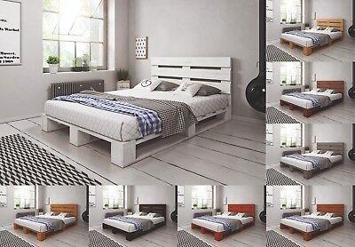 Massivholz Bett (Palettenbett aus Holz Massivholzbett Palettenmöbel mit Kopfteil versch. Farben)