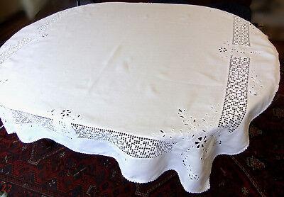 Tablecloth square 1900 linen 1m50 x 1m50 à broderie au drawstring