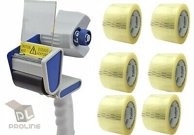 6 Rolls 3 X 110 Yd Clear Packing Tapes 2.0 Mil Free 3 Inch Tape Gun Dispenser