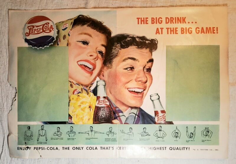 VINTAGE 1940s PEPSI COLA THE BIG DRINK AT THE BIG GAME! PAPER FOOTBALL AD POSTER