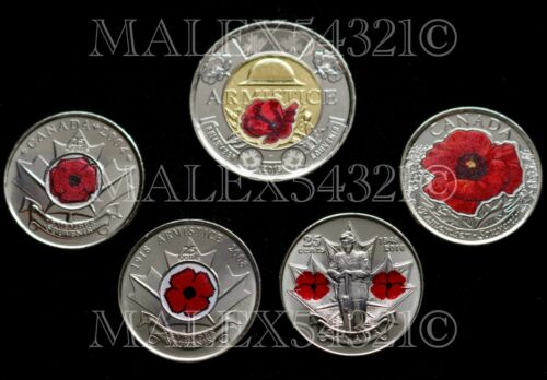 """CANADA 2004 2008 2010 2015 2018 """"COLOURED POPPY"""" COIN SET UNCIRCULATED"""