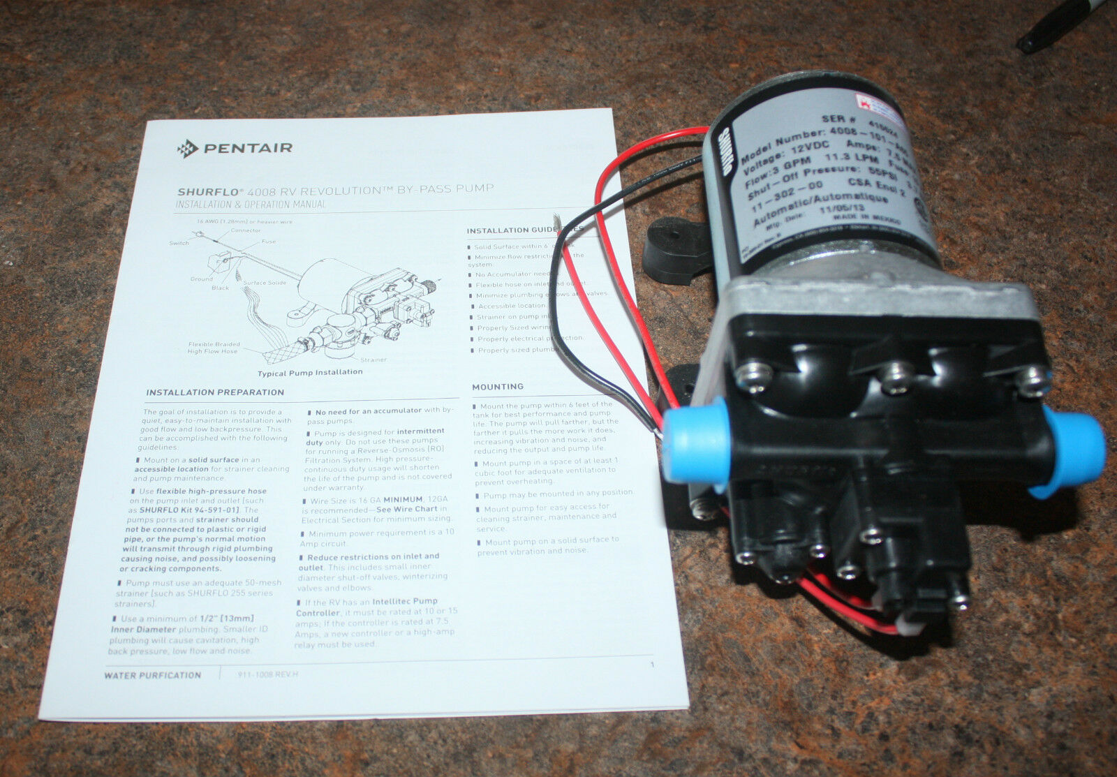 New Shurflo 12v 30 Gpm Rv Water Pump 4008 101 A65 Revolution Atwood 93865 Heater Circuit Board With Fuse Potted Spade