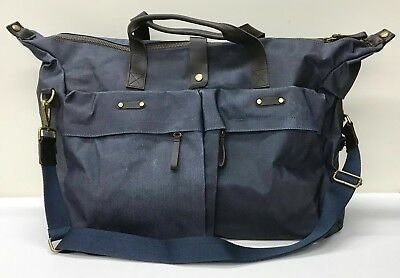 NEW Pottery Barn Jasper Blue Waxed Canvas Weekender Luggage Tote Bag~H2O Resist