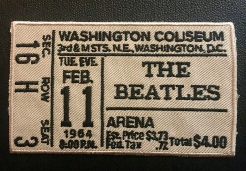 "THE BEATLES Ticket EMBROIDERED PATCH 1st US CONCERT 4x2"" Beatlemania"
