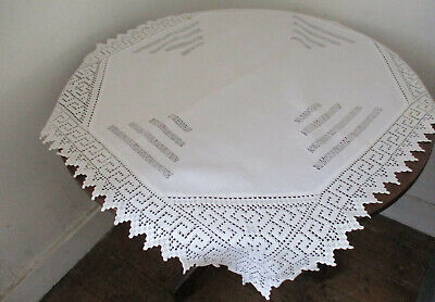 ANTIQUE LINEN TABLECLOTH CROCHET LACE EDGING GREEK KEY PATTERN