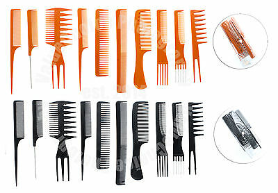 10 Piece Pro Salon Hair Styling Hairdressing Plastic Barbers Brush Combs Set -