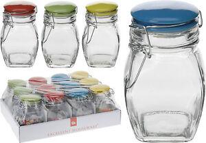 12x300ml Clear Glass Clip Top Storage Jars with Ceramic Lid Kilner Sweet Jam Jar
