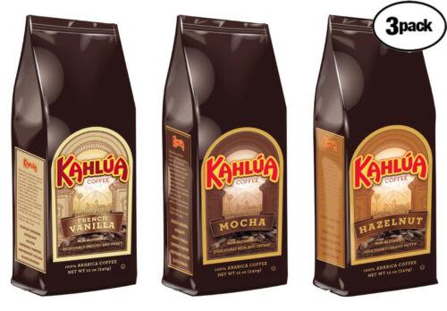 Kahlua 3 BAGS 12oz 1 EACH HAZELNUT, MOCHA, FRENCH VANILLA Ground Coffee