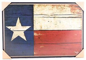 Large Texas Flag Print on Wood Distressed Lone Star Rustic Primitive Country