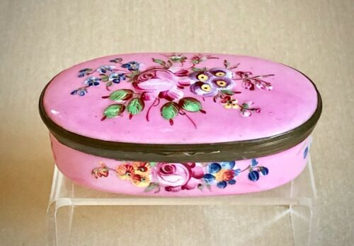 Antique English Bilston Battersea Enamel Copper Pill Patch Snuff Box Flowers