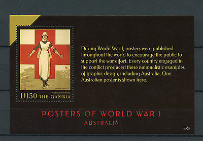 Gambia 2015 MNH WWI Posters First World War I Australia 1v S/S Red Cross Stamps
