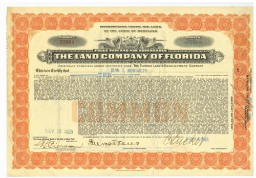Land Company of Florida. Stock Certificate. 1925