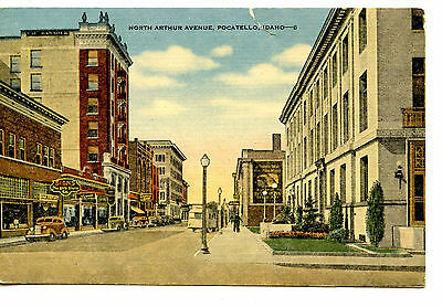 North Arthur Avenue Street Scene Stores Pocatello Idaho Vintage Linen Postcard