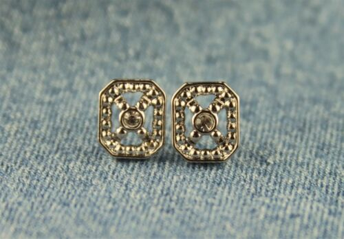 """Unsigned Avon """"Frosted Sparkle"""" Rectangle w/ Center Rhinestone Pierced Earrings"""