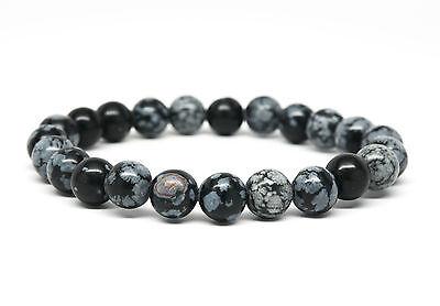 Snowflake Obsidian Beaded Mens Bracelet-DT112