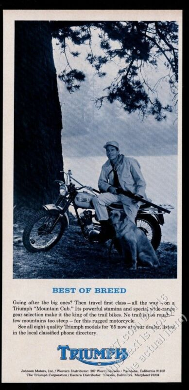 1965 Triumph Mountain Cub motorcycle photo vintage print ad