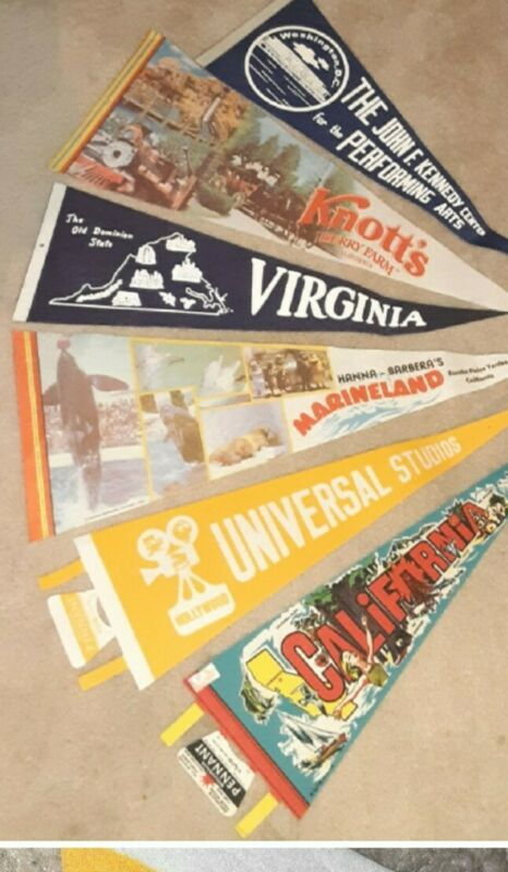Lot of 6 Vintage Large Full Size Souvenir Pennants.  Good condition.