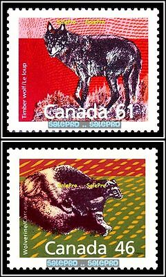 2x CANADA 1990 WILD ANIMAL WOLVERINE TIMBER WOLF FV FACE $1.07 MNH STAMP LOT