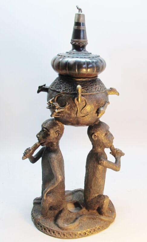 """Huge & Rare 30"""" Tall Antique Persian Bronze Censer w/ Monkeys c. 1820  Sculpture"""